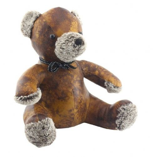 FAUX LEATHER TEDDY DOORSTOP